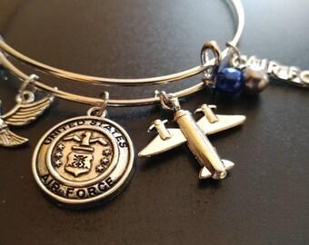 Military - US Air Force- Adjustable Bangle Charm Bracelet Silver