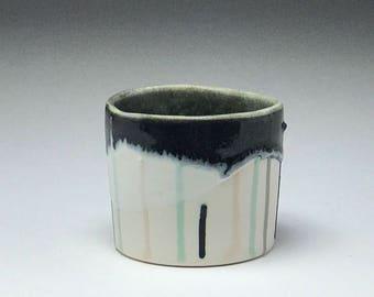 Porcelain tumbler, ceramic tumbler, whiskey cup, handmade tumbler, black & white stripes, clay tumbler, clay cup, ceramic cup, short tumbler