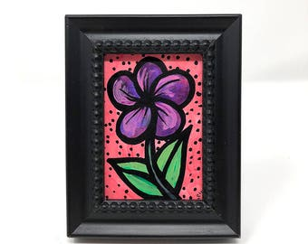 Purple and Pink Flower Painting - Bookshelf Art - Desk Painting for Her - Original Small Framed Art - Floral Desk Decor - Gift Under 25