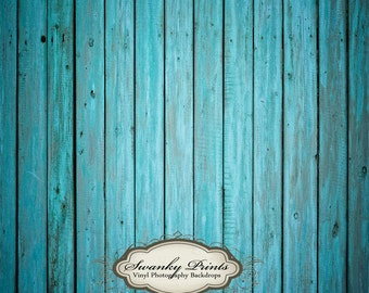 5ft x 5ft  Vinyl Photography Backdrop Floordrop / Bright Blue Wood