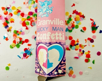 Vintage Box of Colourful Confetti - 1960s Lucky Man Brand Wedding Confetti - Full Box in Bright Rainbow Colours