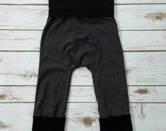 Maxaloones Grow With Me Pants Solid Charcoal with Black