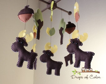 Baby Crib Mobile - Baby Mobile - Moose Mobile - Woodland Forest - Nursery Forest Crib Mobile - You can pick your colors