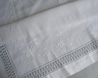 Antique linen tablecloth, white embroidery fuschias