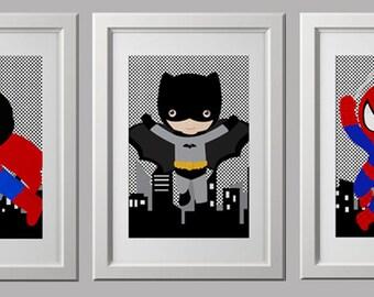 superhero wall PRINTS, nursery wall art prints, PICK 3 prints,  quality prints shipped to your door, batman spiderman superman bedroom