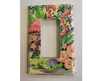 retro flamingo rocker switch plate vintage 1950s rockabilly pink flamingo Florida kitsch