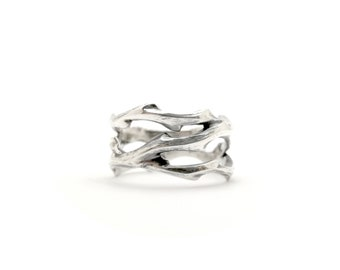 Wild Thorn Ring, Sterling Silver jewellery, Nature inspired dainty ring