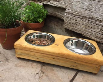 Wooden Double Bowl Cat table, Cat Bowls, Cat Feeder, Pet Accessories, Cat Accessories