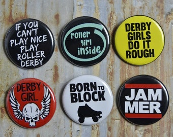 Single x1  Derby Rollerskate Metal Music Buttons Clothing Pin