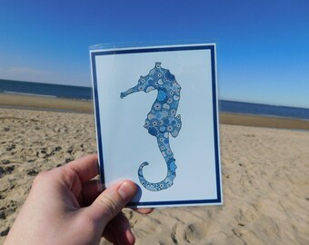 Nautical Seahorse Blank Card
