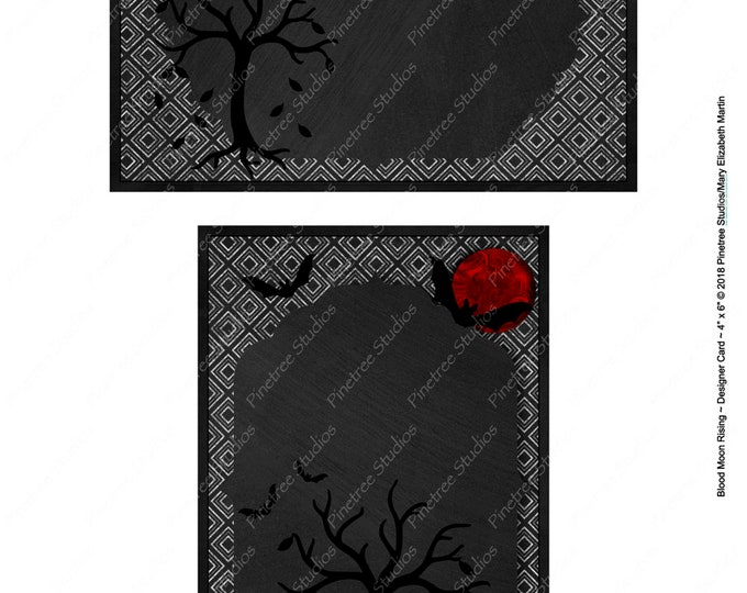 "Halloween ~ Blood Moon Rising Postcards (4"" x 6"" Landscape/Portrait) Digital Download ~ Printable / Journal Label / Card / E-Card / Ephemera"