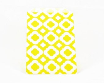 PAPER BAGS (Set of 12) - Yellow Geometric Flower Pattern (19cm x 12cm)