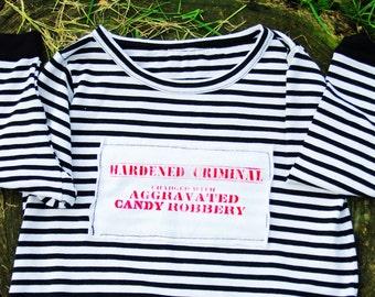 Prisoner Costume Candy | Halloween OnePiece | Candy Robber Prisoner Bodysuit | Girl/Boy JailBird | Convict Striped Coverall | Sizes NB-4T