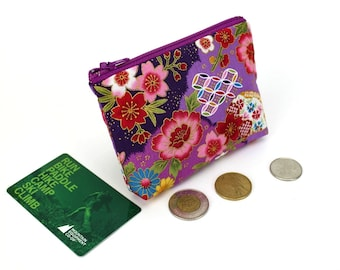 floral pouch, coin wallet, zippered coin purse, change pouch, coin pouch, Kimono fabric pouch, Chrysanthemum Purple