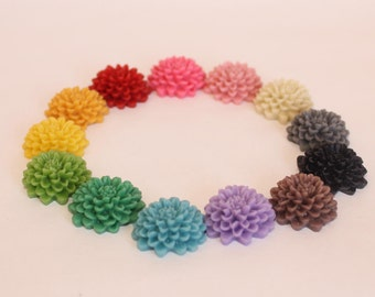 24 CHRYSANTHEMUM Cabochons - 20mm - CHOOSE your Colors