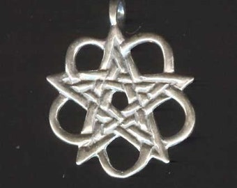 Celtic Star Sterling Silver Hidden Pentacle Pendant P30