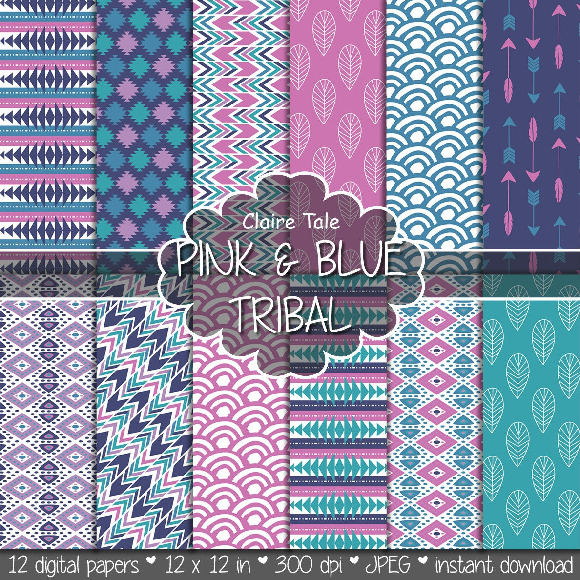 Blue Tribal Wallpapers: Tribal Digital Paper: PINK & BLUE TRIBAL With