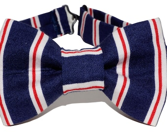 Bow Tie - Blue, Red and White Striped Bowtie