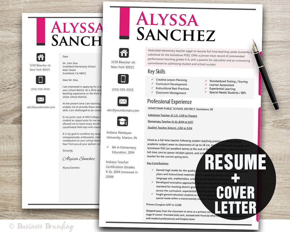 Noticeable Pink Teacher Resume Template Resume Cover Letter