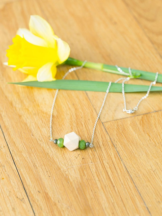 Bar Gemstone & Pyrite Diffuser Necklace (Silver)