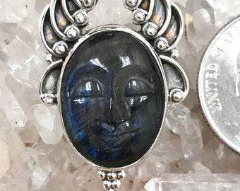 Carved Sleeping Budda Labradorite Pendant Necklace