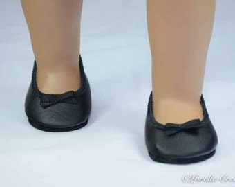 American Girl SHOES Black Smooth Faux Leather Ballet Communion Wedding Flats with Bow Trim for American Girl or 18 inch doll