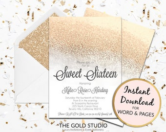 Instant Download Sweet 16 invitation sweet sixteen editable template elegant white gold glitter editable in word and pages on PC and Mac