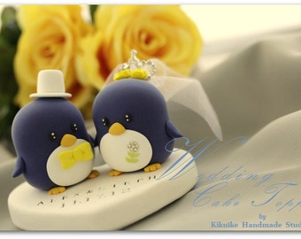 Penguins Wedding Cake Topper with crystal crown (K427)