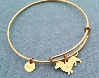 Dachshund Dog Adjustable Bangle Bracelet, Solid Brass Personalize Pendant Breed Silhouette Charm Rescue Shelter pet memorial jewelry