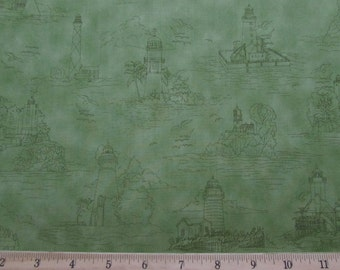 Per Yard, Safe Harbor Lighthouse Fabric From VIP