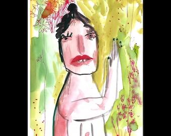 Original watercolor painting woman, watercolor drawing, bedroom art, original art, weird art, whimsical art, small format art, one-of-a-kind