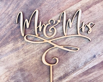 CLEARANCE! 1 ONLY TimberWedding Cake Topper Mr & Mrs Wedding Cake Engagement Cake Topper Cake Decoration Cake Decorating CHB