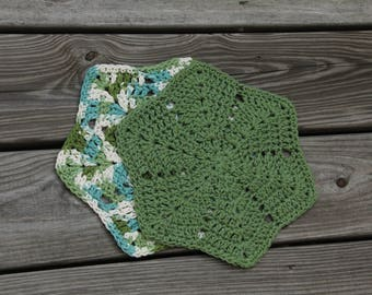 Crocheted Washcloths, Star Dishcloths, Crochet Star Dishcloths, Dish Cloth, Kitchen Cloth, Green Dishcloths, Crochet Spa Cloth, MrsVsCrochet