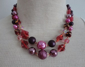 VINTAGE 1960s multi purple two strand BEADED NECKLACE