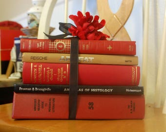 Red Decorative Book Stack