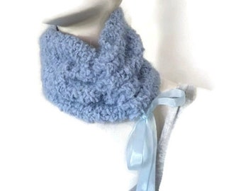 Womens Winter Cowl, Blue Cowl, Hand Knit Cowl, Cowl with Ribbon, Knit Scarflette, Mothers Day Gift