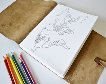 Travelers notebook world map journal personalized travel leather travel sketchbook color in map journal personalized gift for travelers travel scrapbook world map journal coloring map choc 6x8 gumiabroncs Choice Image