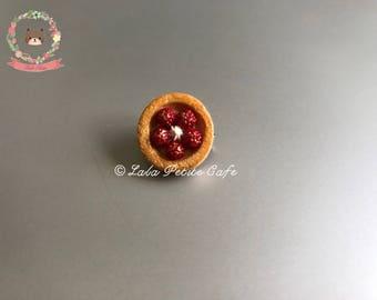 Food jewelry, miniature raspberry tart brooch, dessert jewelry