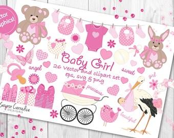 Baby girl clipart, baby girl clip art, baby shower clipart, girl christening clipart, new baby clipart, girl clipart, pink baby clipart