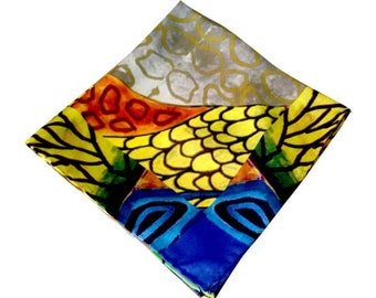 GRACE -100% Silk Antique Gold Hand Painted Scarf