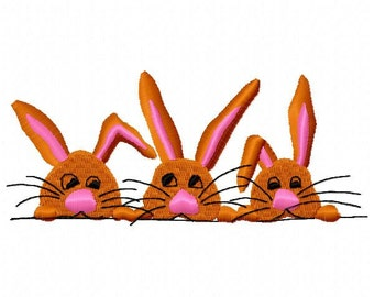 3 Bunnies Embroidery Design - Instant Download