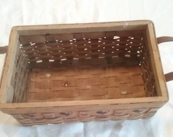 Primitive/Country Style Rectangle Woven Basket with Leather Handles/Bread Basket/Bin/Organization/Rooster/Hand Painted/Stamped/Eco Friendly/