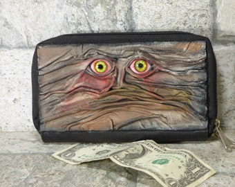 Wallet Woman Clutch With Zombie Horror Face Double Zippered Organizer Brown Black Leather 244