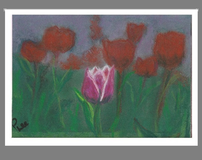 """PRINT of Original Signed Pastel Painting, Flower Artwork, """"One Special Tulip"""""""