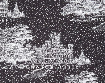 Downton Abbey Christmas Fabric by Andover - Black and White Snow Snow and Castle Fabric by Andover Fabrics  A 7803 MK -  100% Cotton Fabric