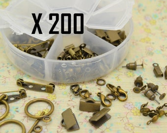 200 x primer bronze clasp metal brooch clip assortment mix creating jewelry ring