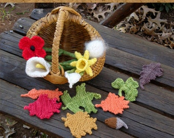 Knitting Flowers E-Book in PDF format by Linda Dawkins, Instant Download