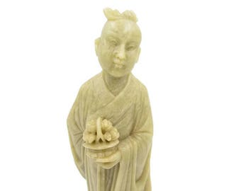 Antique Chinese Carved Soapstone Figure - Female Immortal Soapstone Figure - Soapstone Carving