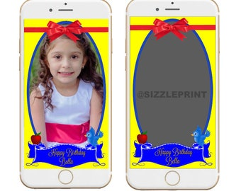 SNOW WHITE GEOFILTER Plus Family & Friends Message   Custom Personalized Snapchat Geofilter   Snow White Birthday Party