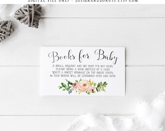 Please Bring a Book, Instead of a Card Insert, Country Floral Baby Shower, Book Request Card, Printable, Instant Download Baby Shower [479]